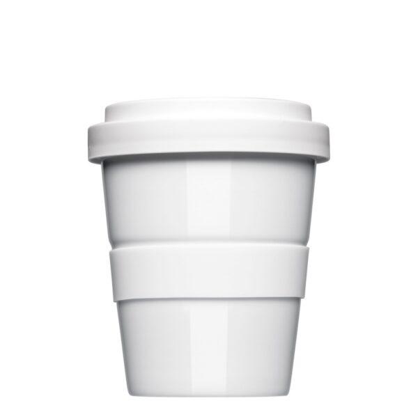 Coffee2Go Mini, Kaffeebecher to Go Form 344, mit glatter oder geriffelter Siliconbanderole