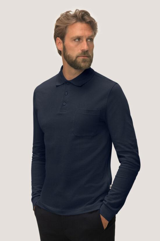 HAKRO Longsleeve-Pocket-Poloshirt Top