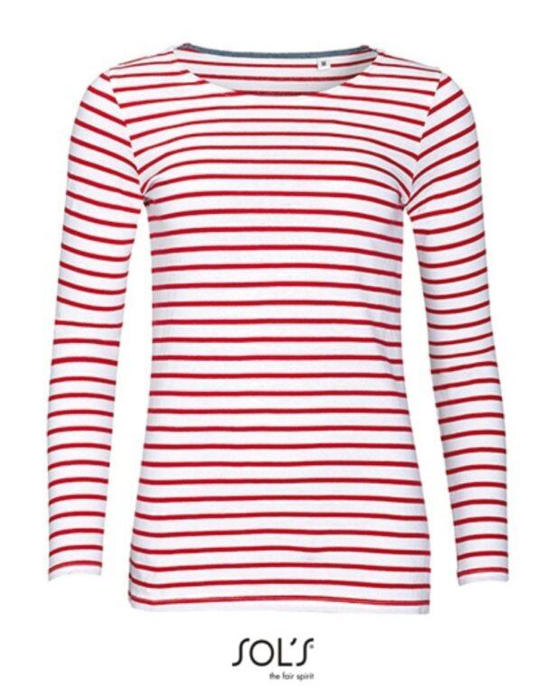 Women`s Long Sleeve Striped T-Shirt Marine